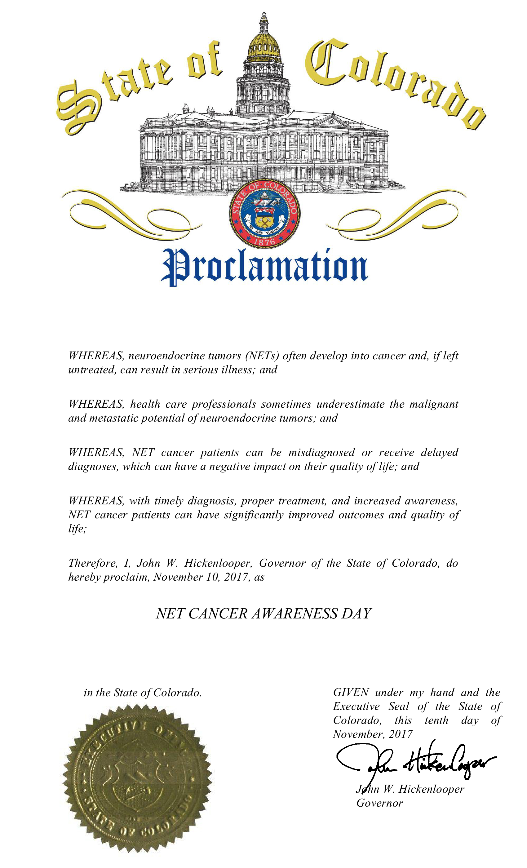 NET Awareness Day Proclamation 2017